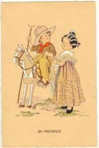French Girl Watiching Boy Dressed As Cowboy On Wheeled Horse, 30-40s