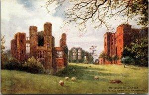 Antique colour printed postcard J Salmon Series Kenilworth Castle Opiel Window