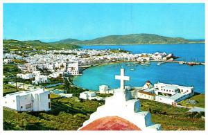 18857 Olympic Airways Postcard, Aerial View of Mykonos