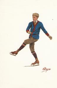 Carlo Pelligrini Ice Skater Sports Lithograph 1912 Olympic Games Postcard