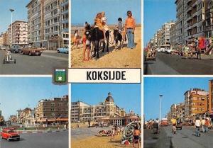 Belgium Greetings from Koksijde, Plage Beach Donkeys Fountain Street Cars Auto