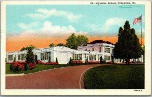 Columbus, Georgia Postcard WYNNTON SCHOOL Building View CURTEICH Linen 1955