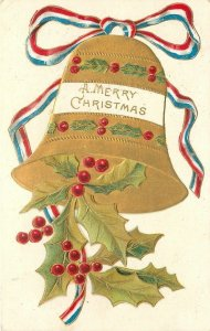 Christmas~Gold Bell~Holly Berry~Red White Blue Ribbon~Art Nouveau Emboss~Germany