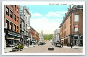 Rutland Vermont~Center Street~Downtown Shopping~Bank on Corner~1920s