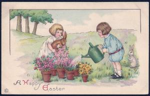 Happy Easter Children Flowers Rabbits used c1921