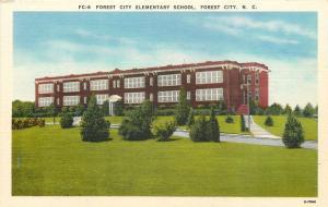 Forest City North Carolina~Forest City Elementary School~1940 Linen Postcard