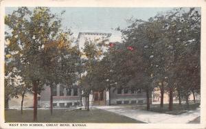 Great Bend Kansas~West End School~Shade Trees~1923 Postcard