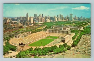 Chicago IL-Illinois, Soldiers Field, Aerial View, Chrome Postcard