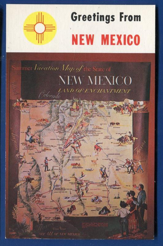 New Mexico nm Greetings summer vacation Map chrome postcard