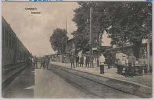 POLAND -  Vintage Postcard archiwalne pocztówki - Szczaniec  Stentsch 1922 TRAIN
