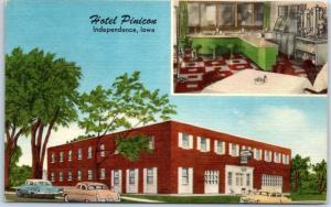 Independence, Iowa Postcard HOTEL PINICON Street & Coffee Shop View Linen c1950s