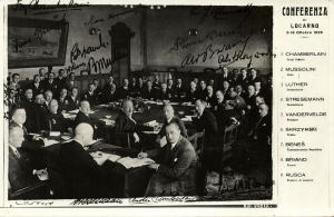 Conference Locarno Treaties, Mussolini, Chamberlain, Luther (1925) RPPC