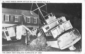 Watch Hill Rhode Island Hurricane 1938 Yacht On Lawn Antique Postcard K29145