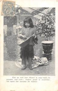 Young girl fille mandolin song music C'est un rude jour d'hiver! 1905