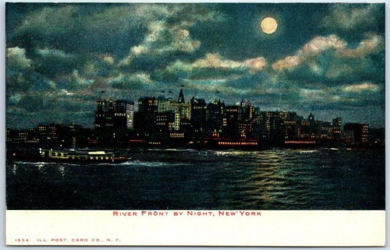 New York City Postcard RIVER FRONT BY NIGHT Manhattan Skyline View c1900s Unused