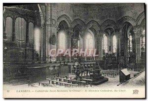 Postcard Old Organ Langres Cathedrale Saint Mammes choir
