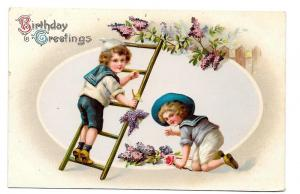 Birthday Greetings Boys Picking Grapes Sailor Suits Postcard