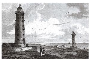 Postcard Art The Old Upper and Lower Lighthouses at Spurn Head, East Riding N66