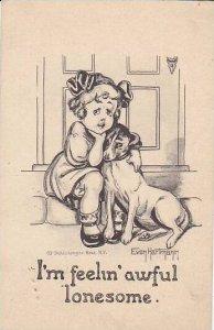 Evon Hartman Young Girl With Dog I'm Feelin' Awful Lonesome 1917