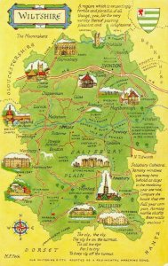 Wiltshire Map Postcard, Swindon, Salisbury, Devizes, Stonehenge GS4