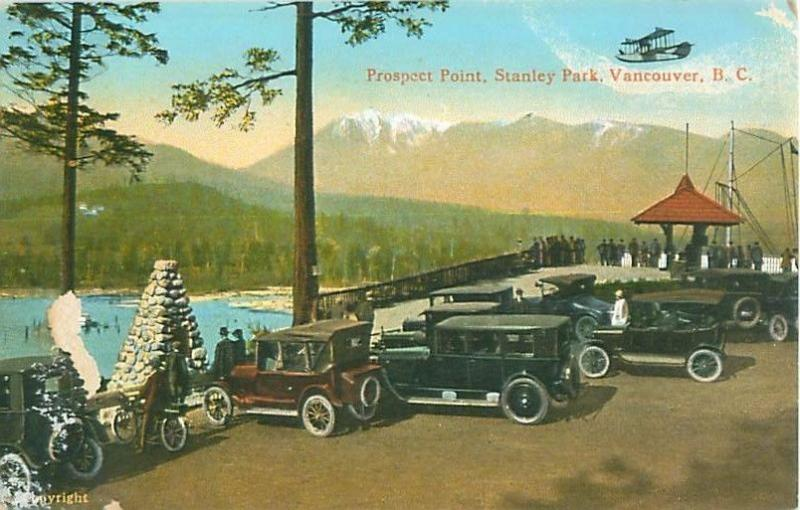 Canada, Vancouver, BC Prospect Point, Stanley Park, Old Cars Pre-Linen  Postcard