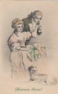 AS; M.M. Vienne Nr 535 (M MUNK)  , 1900-10s ; Heureuse Annee! Couple and dog
