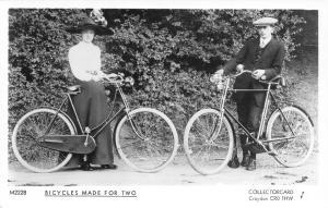 Croydon:Jack Jill Bicycles~She w/Merry Widow's Hat~He w/Newsboy Cap RPPC REPRINT
