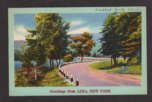 NY Greetings from LIMA NEW YORK Postcard Linen PC