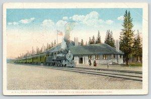 Yellowstone National Park Montana~Steam Train at OSL Depot @ Park Entrance~1920s