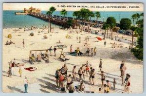 MID WINTER BATHING*SPA BEACH*ST PETERSBURG FLORIDA*PIER*VINTAGE LINEN POSTCARD
