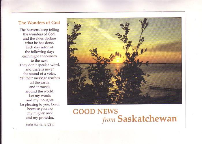 Good News, Sunset, Last Mountain Lake, Saskatchewan, Photo Victor Goos, Psalm...