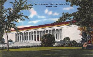 Central Bldg., Toledo Museum of Art, Toledo, Ohio, Early linen Postcard, Unused