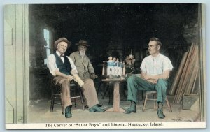 Postcard MA Nantucket Island The Carver of Wood Sailor Boys & His Son c1920s U02