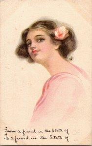 Vintage 1914 Victorian Woman Portrait Postcard - Pink Of Perfection Series