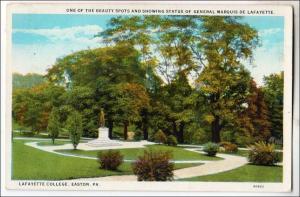 PA - Easton. Statue of General Marquis De Lafayette, Lafayette College