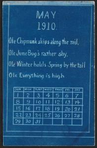 May 1910 Calendar 'Ole Chipmunk... is High' Used c1910
