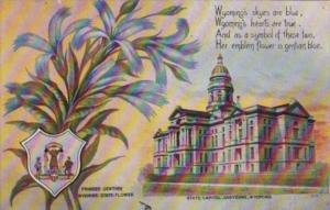 Wyoming Cheyenne State Capitol Building and State Flower Fringed Gentian 1909