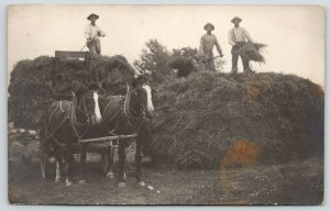 Farm Work Close Up~Farmers Pitch Hay From Mound to Horse Wagon~c1910 RPPC