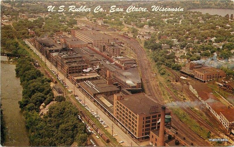 1950s Factory Industry Rubber Birdseye View Eau Claire Wisconsin Brown 2043
