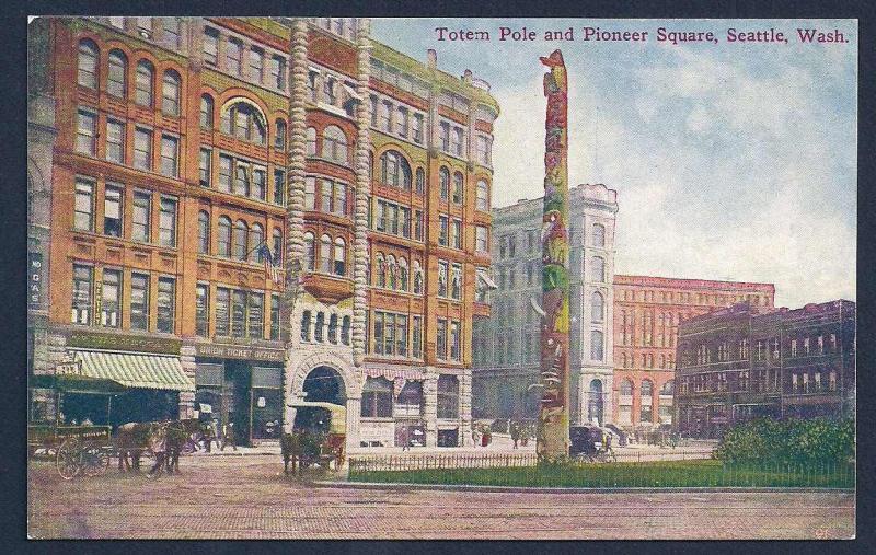 Pioneer Square Totem Pole Seattle Washington unused c1910