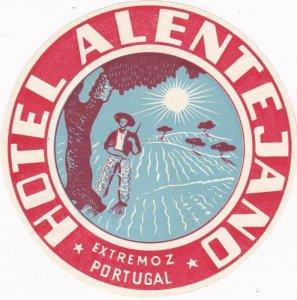 Portugal Extremoz Hotel Alentajano Vintage Luggage Label sk2379