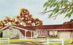 Artist impression  California New Home Realtor Development 1950s Postcard 6701