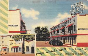 C34/ Camden Arkansas AR Postcard Linen Plaza Hotel Courts Roadside 2View