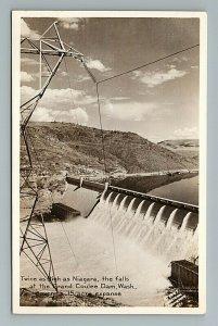 c. 1940s Grand Coulee Dam, Power Lines, Washington State Postcard RPPC