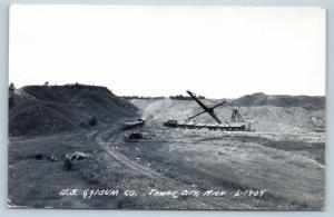 Postcard MI Tawas City US Gypsum Co Electric Shovel Loading Train Cars RPPC P17