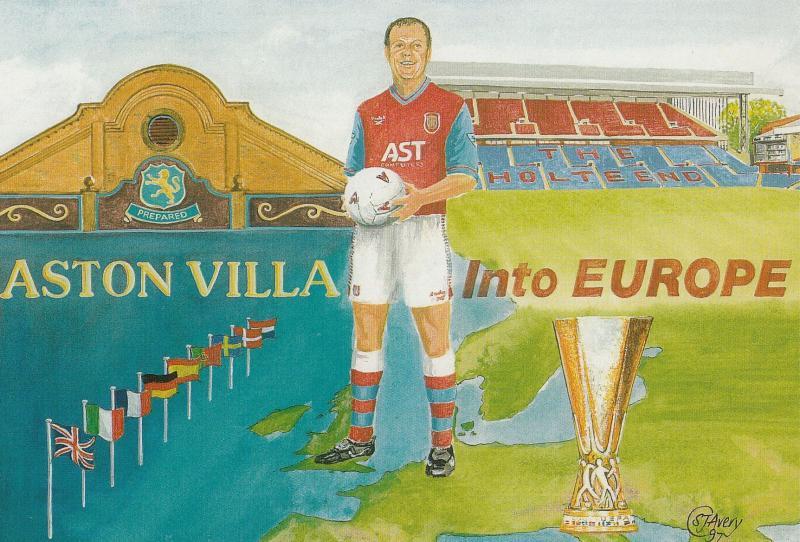 Aston Villa European Football Club 1990s Cup Painting Postcard