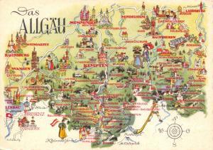 Vintage Postcard Postkarte Das Allgau, Swabia, Germany 79D