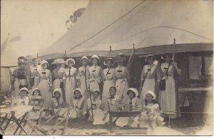 RPPC British Women in Funny Costumes, ca. 1920, Tent, Nurses?