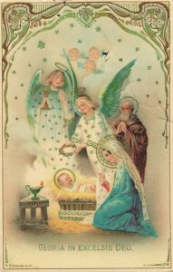 Christmas Angels Vintage Embossed Postcard Gloria in Exelsis Deo 03.33