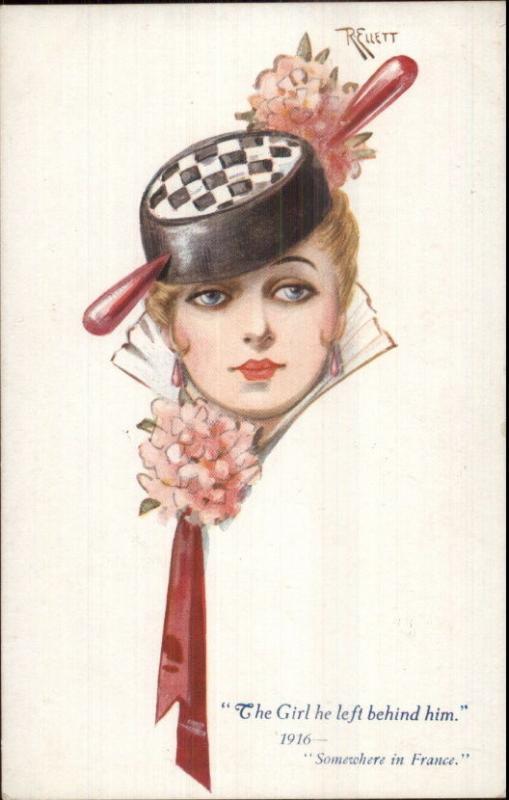 Head Study Beautiful French Woman Fancy Hat R  ELLETT WWI Era